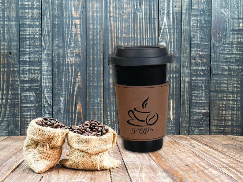 Brown Leatherette Personalized Coffee Sleeve Corporate Office image 0