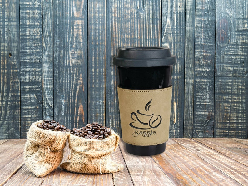 Tan Leatherette Personalized Coffee Sleeve Corporate Office image 0