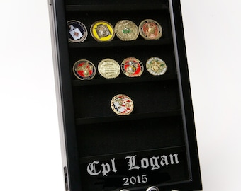 Personalized Challenge Coin Wall Display, Military Gift, Marine Corps, Army, Navy, Air Force, Coast Gaurd