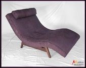 SOLD - 60s Mid Century Modern Adrian Pearsall Plum Purple Wave Lounge Chair New Fabric