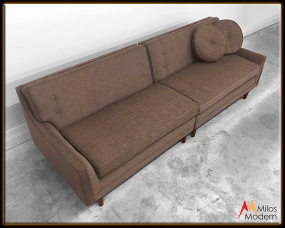 Fantastic 60S Mid Century Modern 2 Pc Sectional Corner Sofa New Chocolate Brown Fabric Ocoug Best Dining Table And Chair Ideas Images Ocougorg