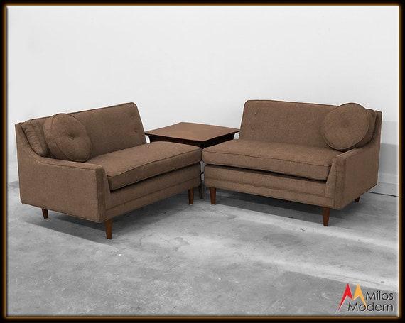 60s Mid Century Modern 2 Pc. Sectional Corner Sofa New Chocolate Brown  Fabric
