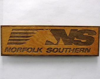 54ce57a085b Norfolk Southern Railroad Logo Wooden Fridge Magnet - Black Text