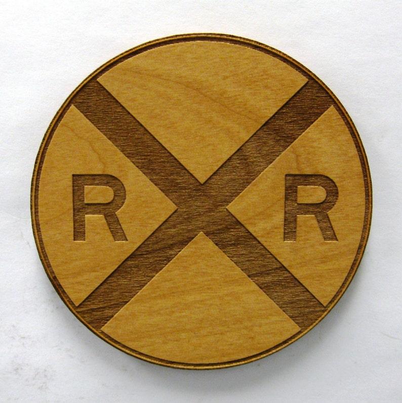 Railroad Crossing Sign Wooden Fridge Magnet image 0