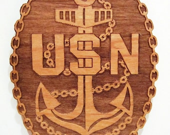 US Navy Chief Petty Officer Anchor Wooden Fridge Magnet