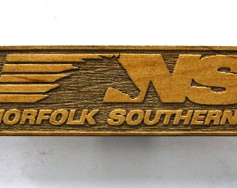 Norfolk Southern Railroad Logo Wooden Fridge Magnet - White Text - Small