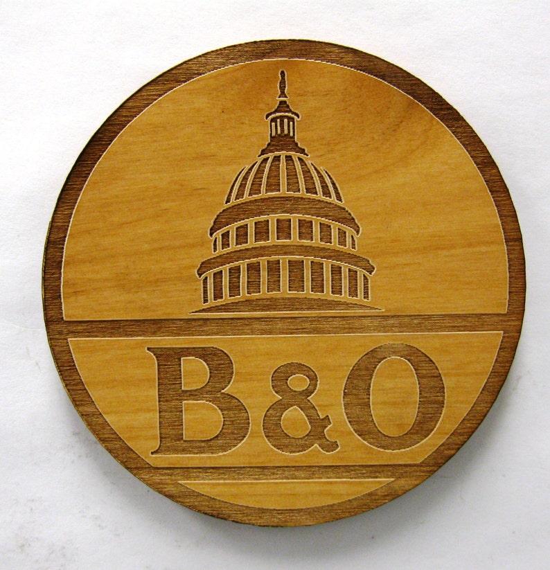 B&O Railroad Logo Wooden Fridge Magnet  Black Text image 0