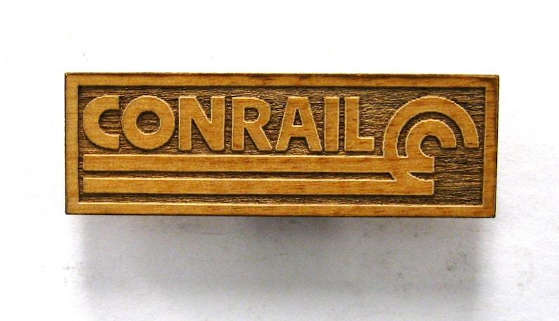 CONRAIL Railroad Logo Wooden Fridge Magnet  White Text  image 0