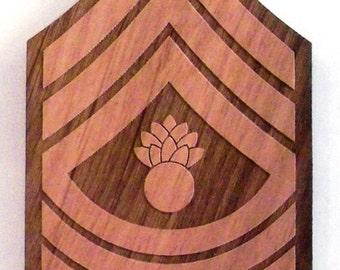 USMC Master Gunnery Sergeant Insignia Wooden Fridge Magnet