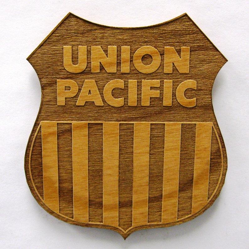 Union Pacific Railroad Logo Wooden Fridge Magnet  Large image 0