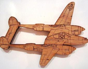 P-38 Lightning Wooden Fridge Magnet