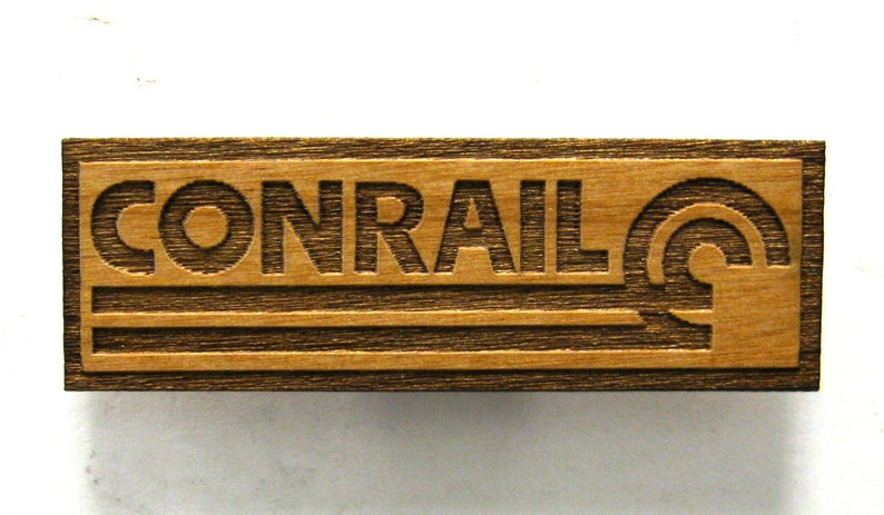 CONRAIL Railroad Logo Wooden Fridge Magnet  Black Text  image 0