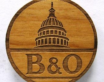 B&O Railroad Logo Wooden Fridge Magnet - Black Text - Small