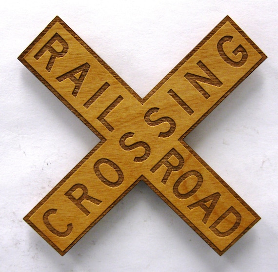Railroad Crossing X Sign Wooden Fridge Magnet