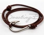 Silver Fish Hook Bracelet on Chocolate Leather Cord