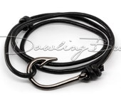 Gunmetal Fish Hook Bracelet on Black Leather Cord