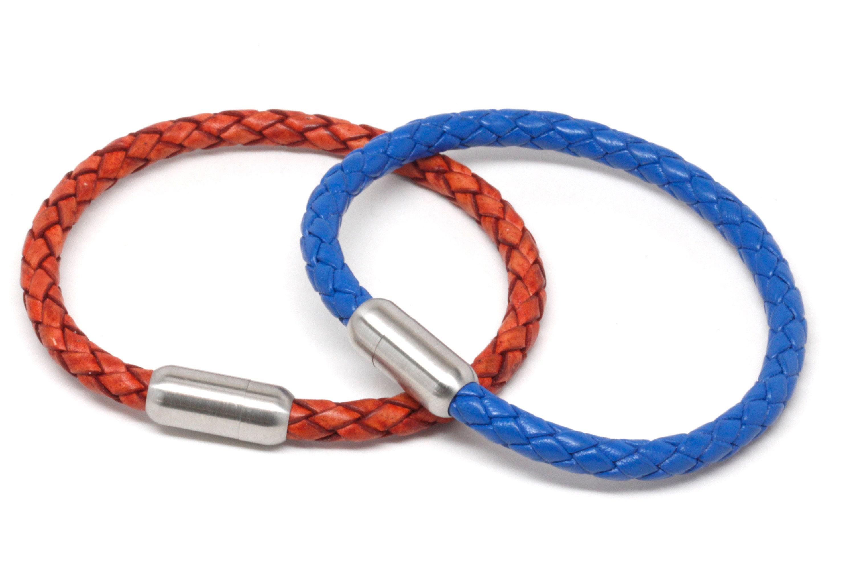 Dowling Brothers Single Wrap Blue Genuine Leather Cuff Bracelet