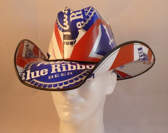e839de51e6 Made from recycled Pabst Blue Ribbon beer boxes. Beerhat.