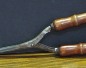 Antique Fire Heated Wood Handle Curling Iron Tongs - 8 quot 1920s 1930s Vintage