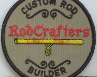 RodCrafters Custom Fishing Rod Builder Sew On Patch Award - 1980s Vintage - 3 1/2""