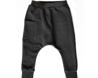 Kids Harem Pants - Kids Clothes, Boys Harem Pants, Todder Boy Clothes, Girl Toddler Clothes, Boy Toddler Harem Pants, Kids Boy Pants - Coal