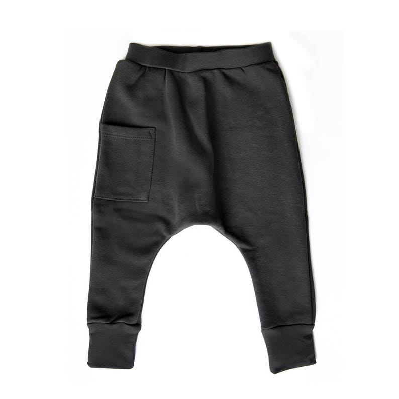 Baby Harem Pants / Baby Joggers - Heavy Weight Cotton - Coal Gray- Free  Shipping Worldwide