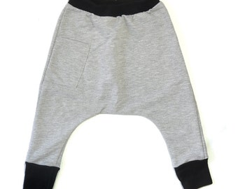Kids Harem Pants - Kids Clothes, Boys Harem Pants, Todder Boy Clothes, Organic Toddler Clothes, Toddler Harem Pants -Melange Gray With Black