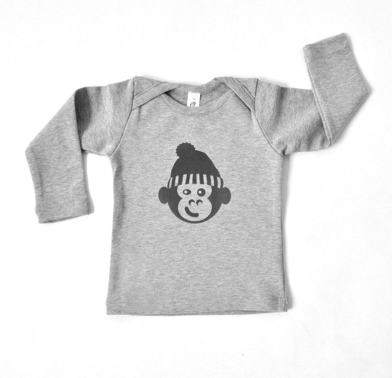 Baby Boy T Shirts - Monkey with a Hat on Gray- Free Shipping Worldwide