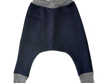 Kids Harem Pants - Kids Clothes, Boys Harem Pants, Todder Boy Clothes, Toddler Clothes, Toddler Harem Pants, Boys Skinny Pants - Navy