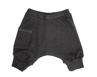 Baby Harem Shorts - Organic Cotton - Coal Gray - Free Shipping Worldwide