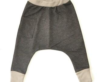Kids Harem Pants - Kids Clothes, Boys Harem Pants, Todder Boy Clothes, Boy Toddler Clothes, Toddler Harem Pants - Marengo Gray With Mocha