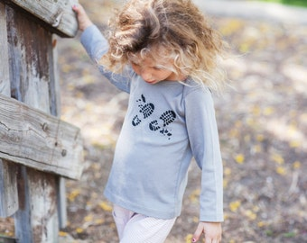 Boy Toddler Shirt, Girl Toddler Shirt, Toddler Boy Shirt, Toddler Girl Shirt- Long Sleeve Shirt - Gray with Black Foot Prints