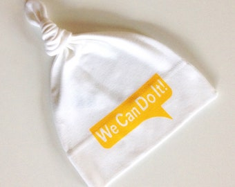 We Can Do It! Baby Beanie Hat. Infant Cap. Hand Screen Printed. 100% Organic Cotton