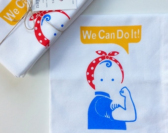 We Can Do It! Napkins.  Set of Four Cotton Napkins.  Hand Screen Printed