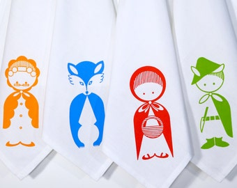 "Little Red Riding Hood Cloth Napkins. Set of 4. Hand Screen Printed. 100% Cotton. 18""x18""."
