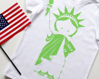 Statue of Liberty Kid's T-Shirt. 4th of July. Hand Screen Printed. 100% Cotton.