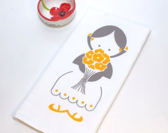 Screen Printed Tea Towel. Hand Towel. Girl with Flowers. 100% Cotton. Design Available in Dozen Colors.