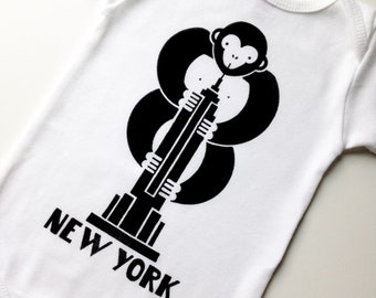 New York Baby Bodysuit. NYC Baby Souvenir. Hand Screen Printed. 100% Cotton
