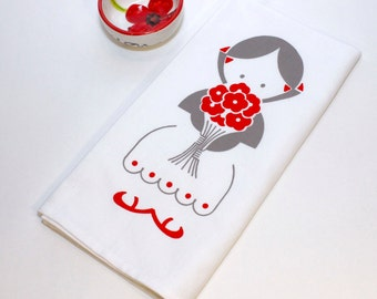 Screen Printed Tea Towel. Kitchen Towel. Hand Towel. Girl with Flowers. 100% Cotton. Design Available in Dozen Colors.