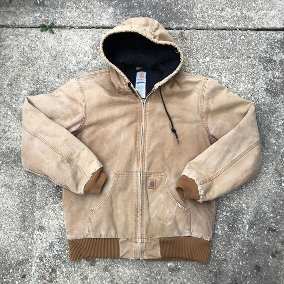 Vintage Carhartt Hooded Jacket Faded Distressed