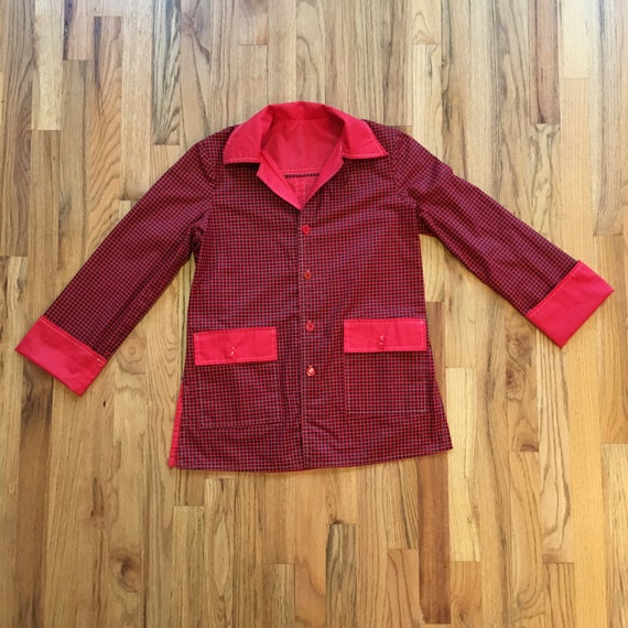 Vintage 1970s Reversible Womens Button Up Shirt -