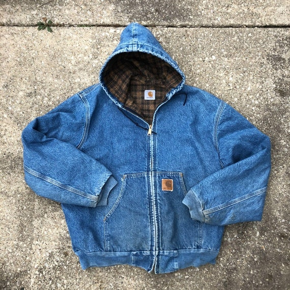 Vintage Carhartt Hooded Denim Jacket Faded Distres