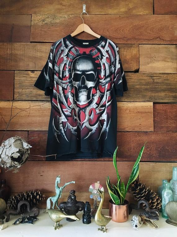 Heavy Metal Skull Liquid Blue Shirt