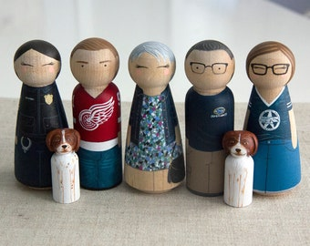 Gift for Dad - Fathers Day Gift - Custom Family Gift - Peg Doll family - Custom Family Portrait - Peg Dolls - Wood Peg Dolls - Unique Gift