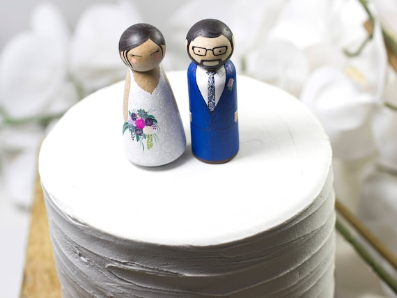 Personalized Wedding Cake Topper Bride Groom Custom Unique Etsy