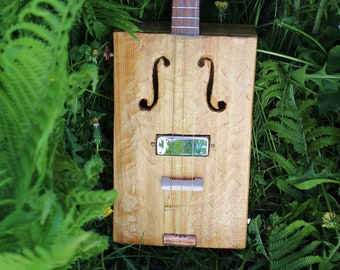 Hand Carved 3 String Guitar w/ F holes