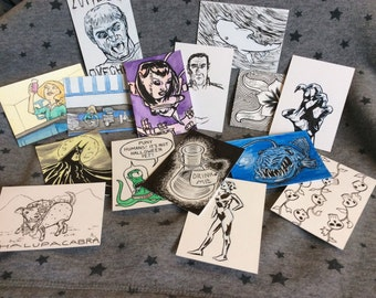 3 Artist Trading Cards, Joan Comics Original Illustrations Grab Bag