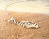 Surfboard Necklace Sterling Silver pendant charm, ocean sea waves beach women sports, beach lover jewelry, beach wedding, bridesmaid gift