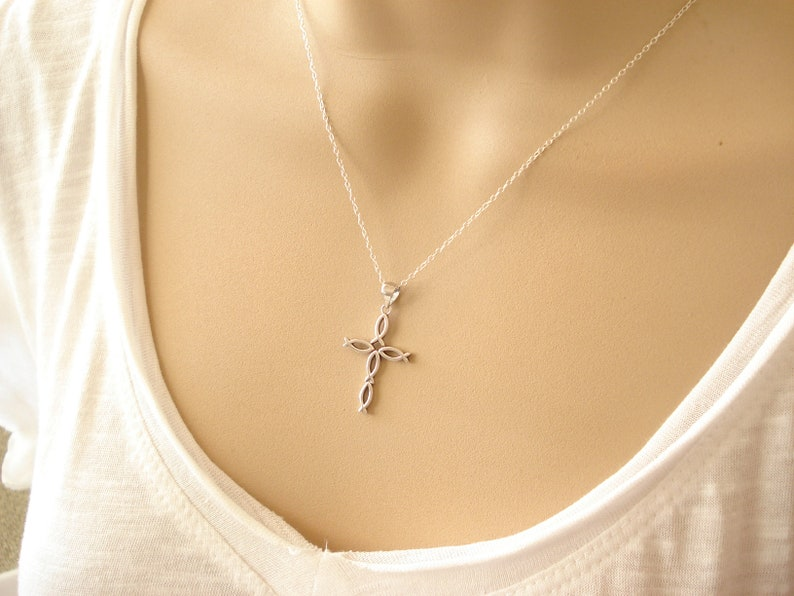 Religious jewelry Faith simple everyday Cross Necklace...Sterling Silver Fish Cross pendant charm bridesmaid gift