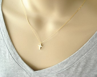 Tiny gold cross necklace..simple everyday wear, bridal jewelry, wedding, best friend, sorority,  bridesmaid gift, faith, religious charm